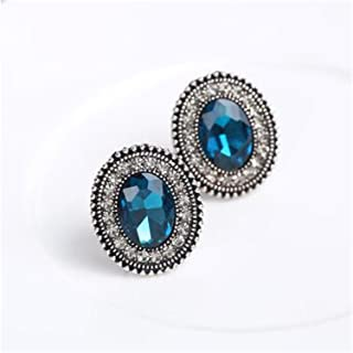 NEW Fashion Luxury Femme Oval Rhinestone Crystal Gem Stud Earrings For Women Gift Statement Jewelry Brincos E1519