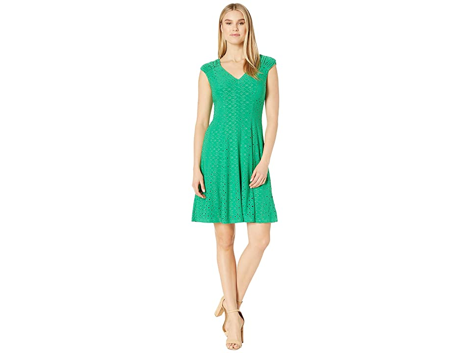 London Times Shirred Shoulder Fit and Flare (Green Bean) Women