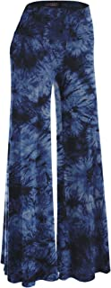 Made By Johnny Women's Solid/Tie-Dye Casual Comfy Wide Leg Palazzo Lounge Pants Gaucho (S~3XL)