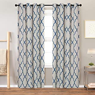 Moroccan Tile Print Textured Linen Panels for Bedroom Room Grommet Flax Linen Blend Curtain Textured Window Treatment Set for Living Room 84 inch Blue