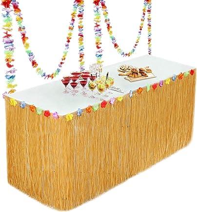 Hawaiian Luau Hibiscus Gras Tisch Rock mit 26 Faux Seidenblumen f/ür BBQ Tropischen Garten Strand Sommer Tiki Party Dekoration WOWOSS Hawaii Luau Tischr/öcke Gold