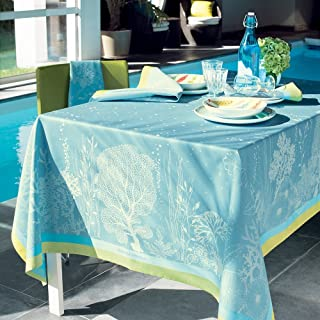 Garnier-Thiebaut, Corail (Coral) Lagon (Lagoon Blue) French Jacquard Tablecloth, 61 Inches X 89 Inches, 100 Percent Cotton, Green Sweet Treated