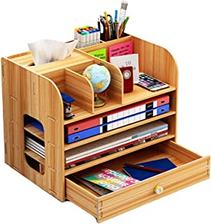 U-A Organisateur Bureau, Grand Bureau Organisateur en Bois avec Stylo tiroir Porte-Crayons Boîte de Rangement pour Le Bure...