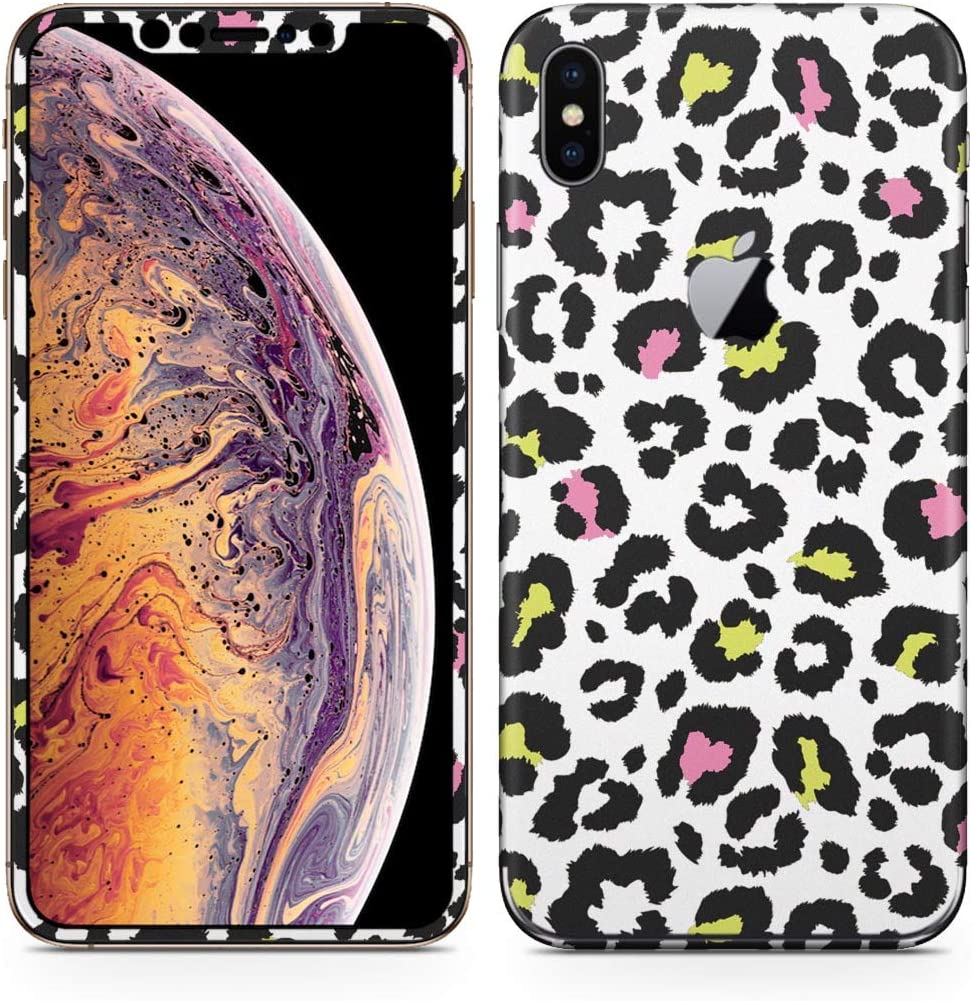 igsticker iPhone Xs Max Skin Sticker Full Body Coverage Vinyl Decal - Dustproof Anti-Scratch for Apple iphonexs max xsmaxfull-011582-ds Leopard Pattern Animal Pattern Colorful