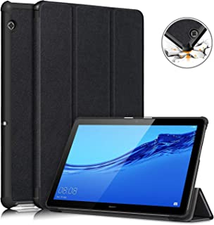 topCASE Custodia per Huawei Mediapad T5 10.1 Pollice Ultra-Sottile Cover con Funzione Supporto,Nero