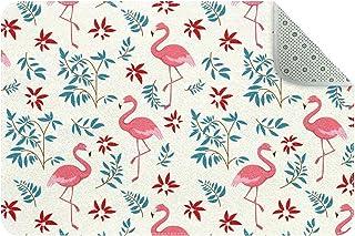 Flamingo and Wicker Door Mats Floor Mat Indoor Outdoor Entrance Bathroom Doormat Non Slip Washable Home Decor, 24 x 16 inch