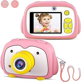 FISHOAKY Cámara para Niños Cámara de Fotos para Niños Digital Camara Juguete con Pantalla de 2.0 Pulgadas/12MP/HD 1080P Videocámaras/Doble Objetivo/Flash Regalo de Juguet para Niños y Niñas