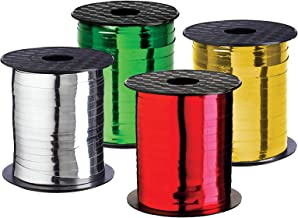 Xmas Ribbon - Christmas Gift Ribbon Set of 4 Rolls Silver Red Green Gold Curling Ribbons Thin for Holiday Gifts Wrapping & Decoration