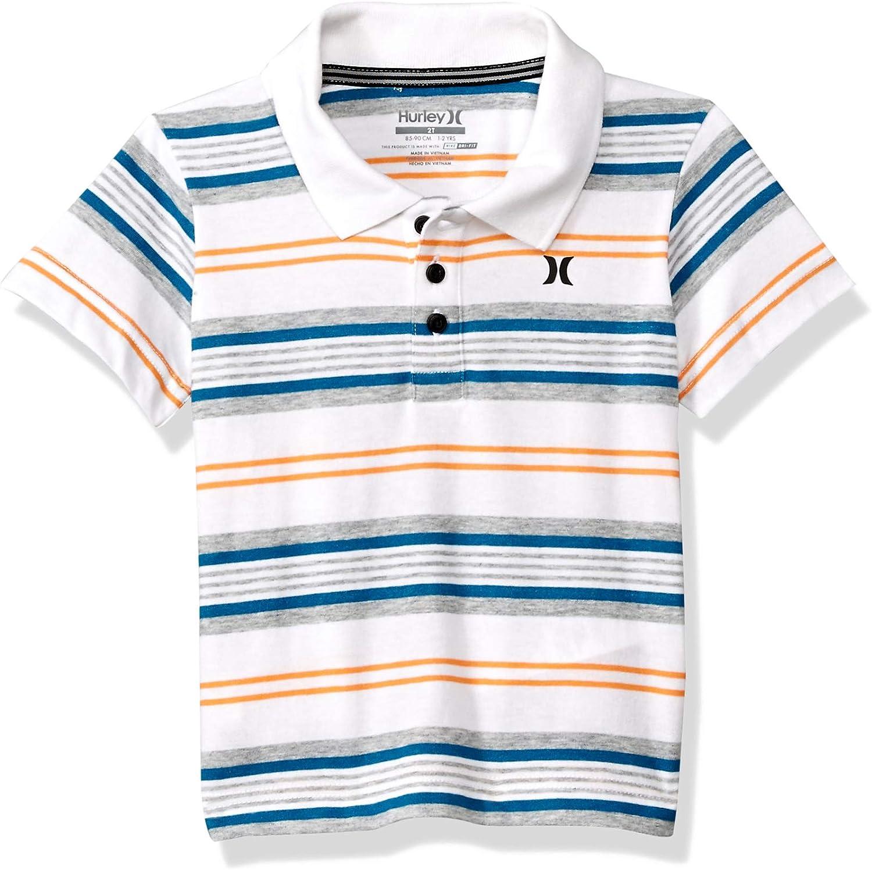 Hurley Boys' Little Dry Polo Shirt, White/Yellow Stripe, 4