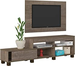 Artely Ever TV Table and Wall Panel for 47 inch TV, Cinnamon Brown, Panel: W 120 cm x D 3 cm x H 73.5 cm - TV Table W 180 cm x D 35.3 cm x H 51.5 cm