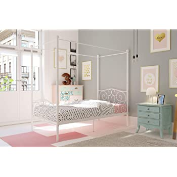 DHP Canopy Bed with Sturdy Bed Frame, Metal, Twin Size - White