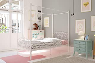 DHP Metal Canopy Bed with Sturdy Bed Frame - Twin Size (White)