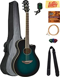 Yamaha APX600 Thin Body Acoustic-Electric Guitar - Oriental Blue Burst Bundle with Gig Bag, Tuner, Strings, Strap, Picks, Austin Bazaar Instructional DVD, and Polishing Cloth