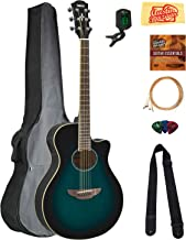 Yamaha APX600 Thin Body Acoustic-Electric Guitar - Oriental Blue Burst Bundle with Gig Bag, Tuner, Strings, Strap, Picks, ...