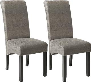 TecTake 403627 Esszimmerstühle 2er Set, Höhe: 106 cm, Holz, grau marmoriert