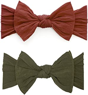 Bows 2 Pack - Baby to Little Girls Classic Knot Headbands Made in USA