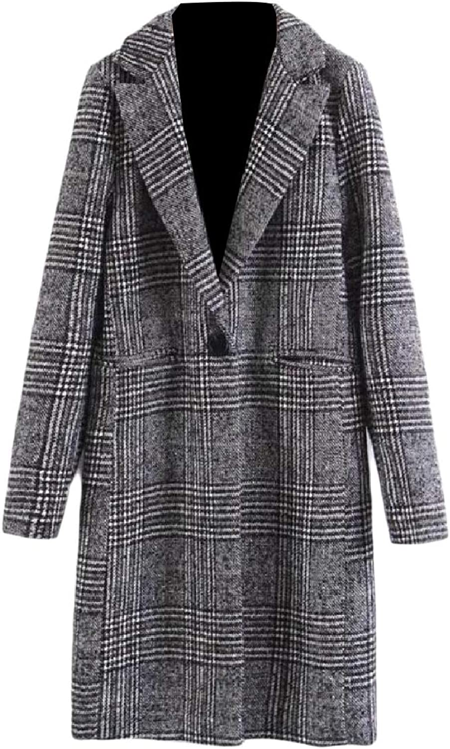 TaoNice Womens Plaid Fitness Merino Classics Elegant Trench Duffle Coat