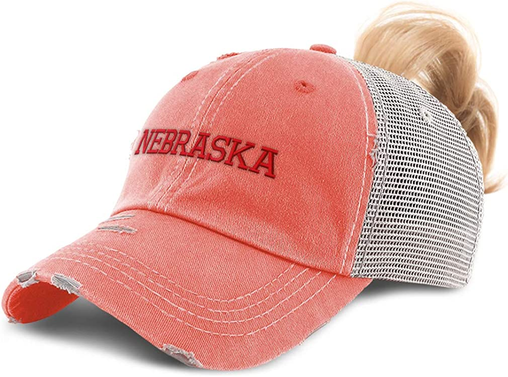 Custom Womens Ponytail Cap Nebraska State USA America B Embroidery Cotton