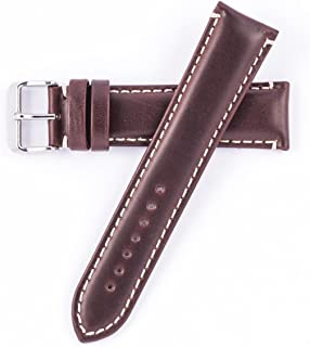 Hadley Roma MS885 22mm Long Watch Band Brown Oil Tan Leather Contrast Stitch