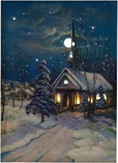Ohio Wholesale Snowy Church Canvas with Timer Radiance Lighted Wall Art