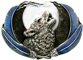 Piratenladen Buckle wolf at full moon, blue - Buckle