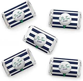 Par-Tee Time - Golf - Mini Candy Bar Wrapper Stickers - Birthday or Retirement Party Small Favors - 40 Count