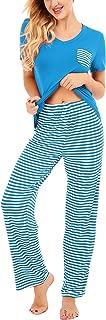 Women's Pajama Sets Striped Short Sleeve Tops &Pant, Soft Pj Lounge and Sleepwear Sets S-XXL