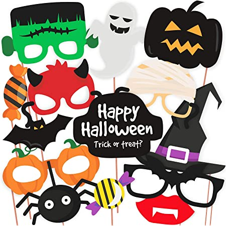 Halloween Party Items.Halloween Party Prop Photo Booth Props Diy Kit For Party Supplies Featuring Boo Pumpkin Ghost Halloween Decorations Photo Booth Props 14 Pcs Amazon In Toys Games