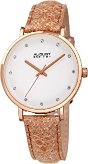 August Steiner Womens Quartz Watch, Analog Display and Leather Strap AS8258RG
