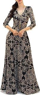 Vivicastle Women's USA Printed V-Neck 3/4 Sleeve Faux Wrap Waist Tie Long Maxi Dress