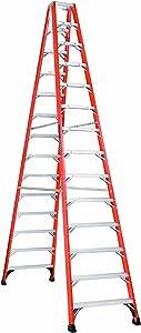 Louisville Ladder FM1414HD Fiberglass Twin Front Ladder, 14 Feet, 375 Pound Duty Rating