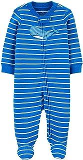 Macacão Pijama Carter's Baleia Azul Algodão Bebê Menino com Zíper e Pezinho