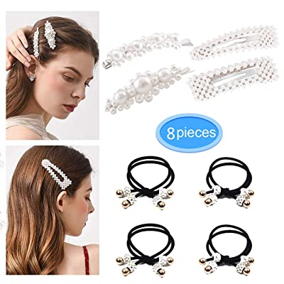 Pearls Hair Clips and Fashion Hair Rope for Wom...
