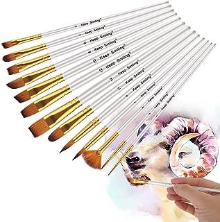 画材筆 ペイント ブラシ アクリル筆 水彩筆 油絵筆 画筆 丸筆 平型筆 平型円頭筆 短毛筆 模型 (白 13)