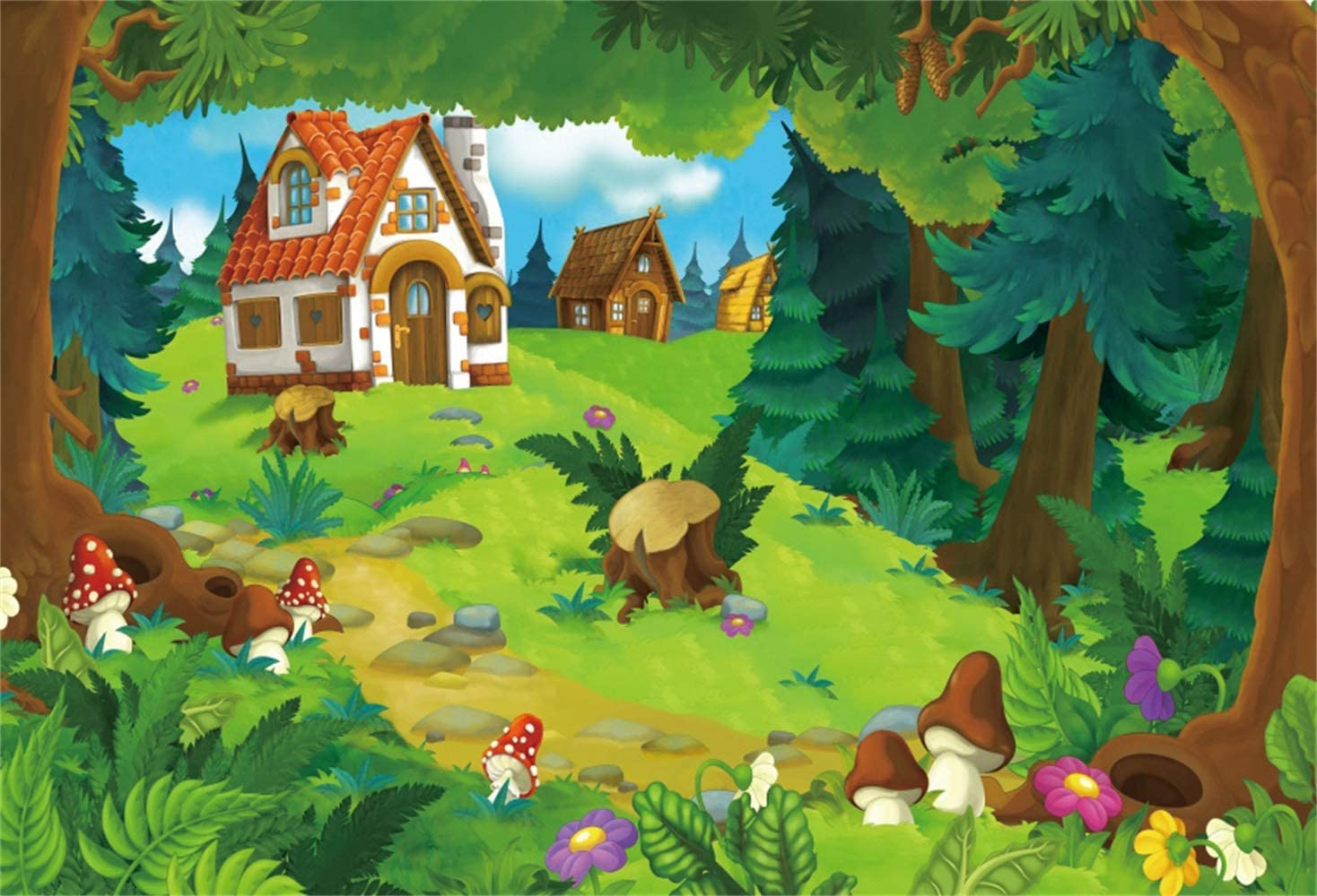 6x4ft Vinyl Cartoon Background Mushroom House Rabbit Backdrop for Photography Children Kids Birthday Party Banner Cotton with Pole Pocket Photo Studio Props MLYZY42 for Party Decoration Birthday YouTu