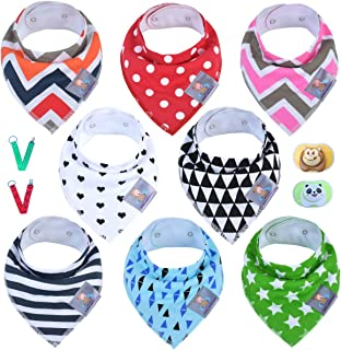 8-Pack Baby Bandana Drool Bibs for Drooling & Teething by Agnes Luxury, Cute Baby Gift for Girls & Boys, Unisex Super Absorbent Organic Cotten, Best Toddle Baby Shower Gift set. 2Free Pacifier & Clips