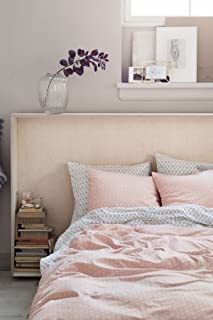 Mid Century Modern Bedding Geo Print Duvet Quilt Cover Set Light Grey Taupe Geometric Triangle Elements Chevron Pattern 100% Cotton Minimalist Design (King, Dusty Pink)