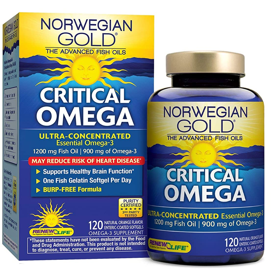 Renew Life Norwegian Gold Adult Fish Oil - Critical Omega, Fish Oil Omega 3 Supplement - 120 Burp-Free Softgel Capsules (Packaging May Vary)