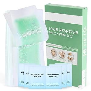 Body Wax Strips 40pcs, Facial Wax Strips Waxing Kit Contain 6 Calming Oil Wipes, Hair Removal Wax Waxing Strips for Arm, Leg, Face, Underarm, and Bikini - Bikini Waxing Kit for Women & Men At-Home Waxing