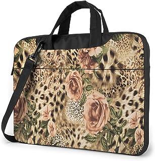 "Animal Leopard Print and Rose Flowers Laptop Bag Protective Case Computer Messenger Briefcase Women Men 13"""