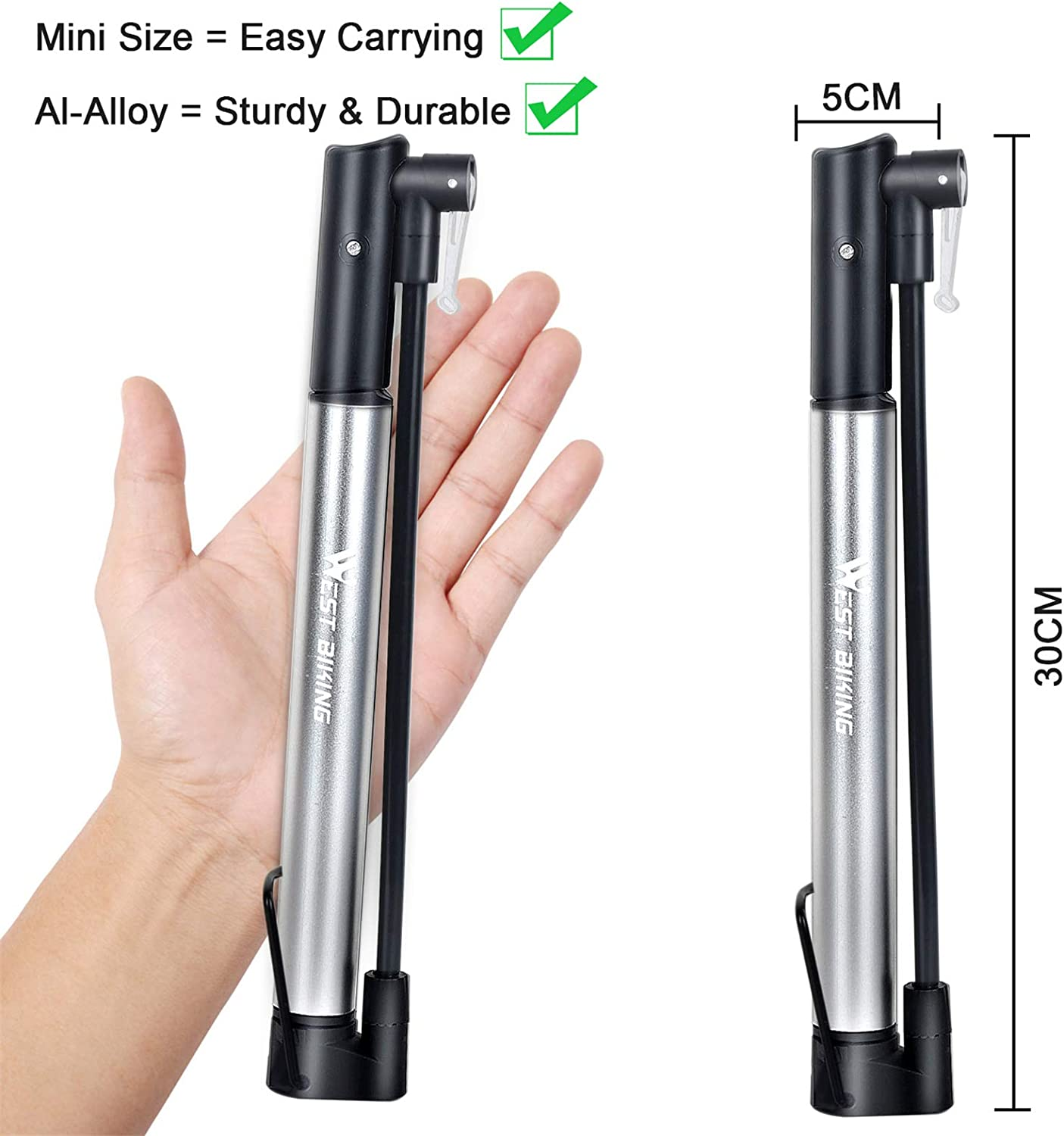 Bike Pump,Aluminum Alloy Portable Mini Bicycle Tire Pump,Super Fast Tyre Inflation Compatible with Universal Presta and Schrader Valve Frame Mounted Air Pump for Road Ball Pump Needle//Frame Mount