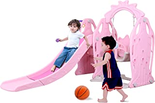 Genivation Indoor First Slide for Kids Outdoor Play Swing Slide Set Backyard Climber Playground Swing Set Toddlers Climber Playset (Pink)