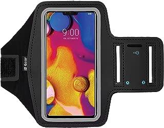 i2 Gear Fitness Arm Band Case - Sport Phone Holder Armband for LG V40 ThinQ, V35, V30S, V30 and V10 Mobile Cell Phone with Adjustable Strap, Reflective Border and Key Holder (Black)