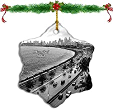 Fcheng India Marine Drive Mumbai Christmas Ceramic Ornament Tree Decor City Travel Souvenir Double Sided Snowflake Sublimation Porcelain Hanging Ornament