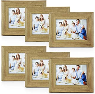 4X6 Picture Frames 6 Pack Rustic Style Wood Pattern High Definition Glass for Tabletop Display and Wall mounting Photo Frame(Gray)