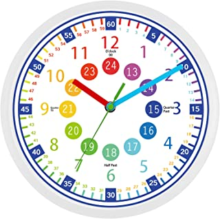 Telling Time Teaching Clock - 12 Inch Silent Wall Clock,Great Visual Learning Clock Time Resource,Perfect Educational Tool...