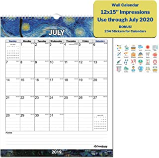 Wall Calendar 2019-2020 Academic Calendar (Impressions) 12x15 Stunning Large Monthly Wall Calendar, Use Through July 2020, with Bonus Stickers, Hanging Office Back to School Calendar by Cranbury