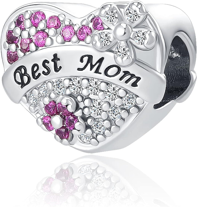 QeenseKc Love Best Mom Mother Heart Dog Mom Charm Rose Flower Family Cubic Zirconi Bead for Pandora Bracelet