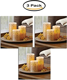 Pack of 3 - Better Homes and Gardens LED Flameless Pillar Candle Set, Malaysian Motif