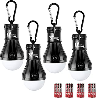 DealBang Compact LED Camping Light Bulbs with Clip Hook(Battery Included) 150 Lumens LED Hanging Tent Lights for Camping,Hiking,Backpacking,Fishing,Hurricane,Emergency,Outage